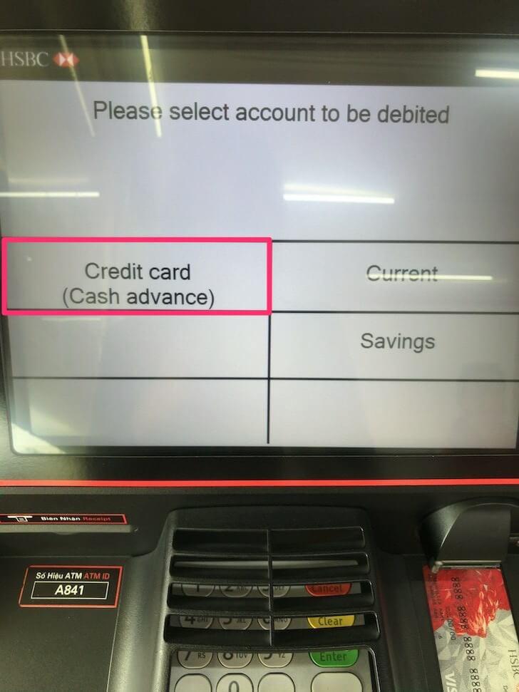 ATMの取引アカウント選択画面