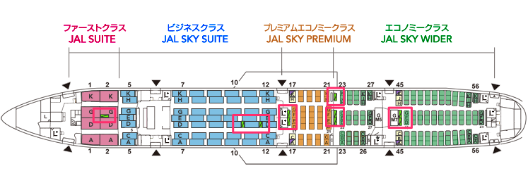 jal-777のバシネット設置可能場所